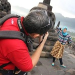 Shooting my daughter at Borobudur Temple