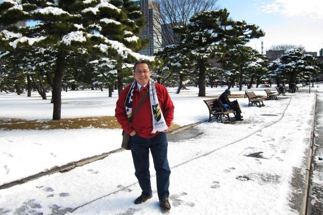 Taman penuh salju....