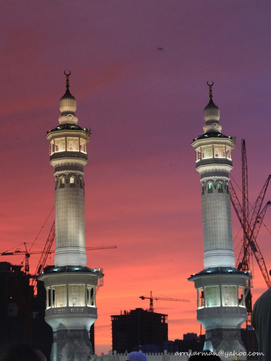 Two Towers of Masjidil Haram at Sunset