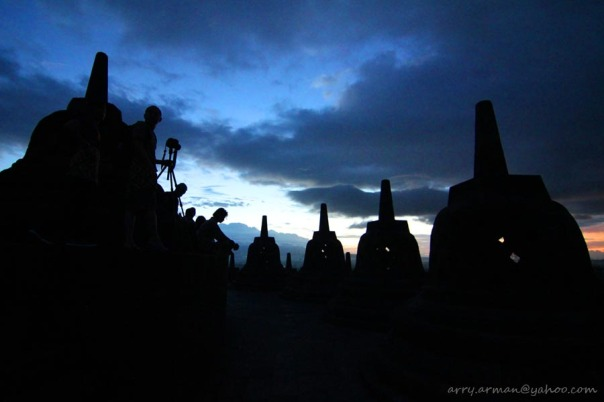 Sunrise from the top of Borobudur Temple