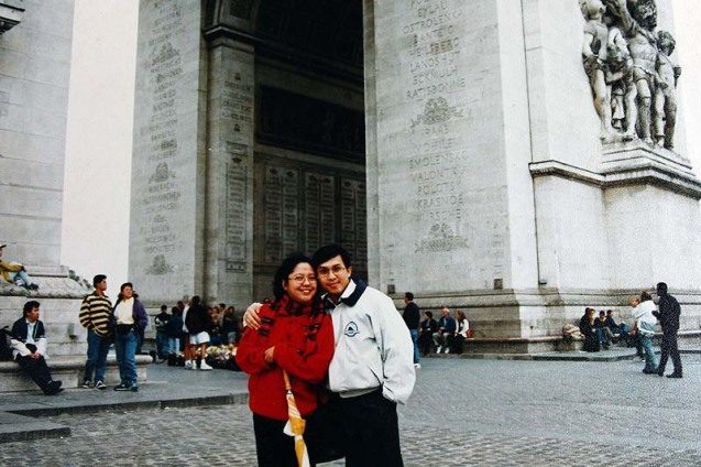Me and My Wife in front of arc de Triomphe