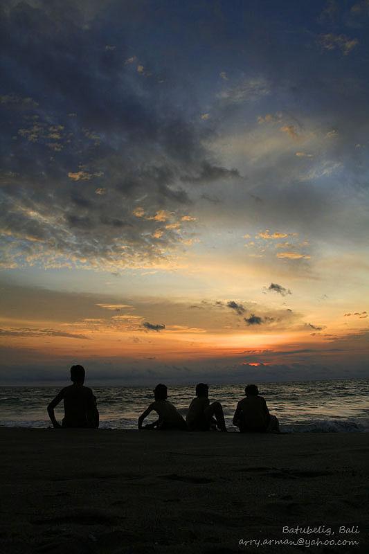 Sunset at Batu Belig Beach, Bali, Indonesia