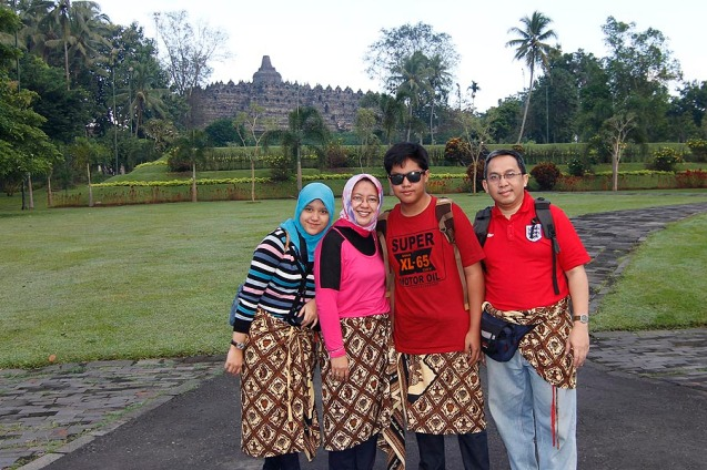 My family after going down from the top (Borobudur at the background)