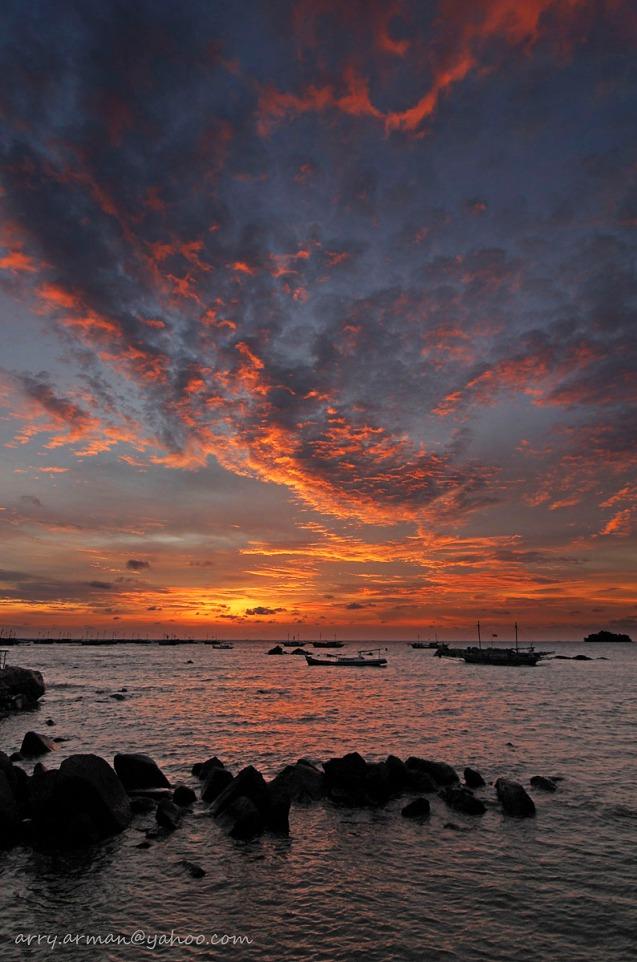 Beautiful Sunset on Belitong Island