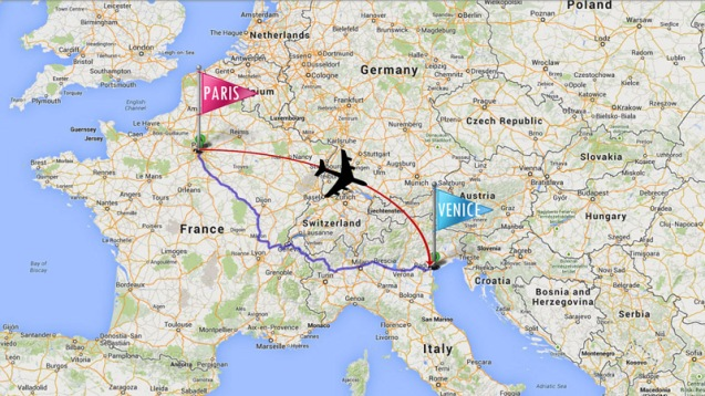 From Paris Orly to Venice Marcopolo
