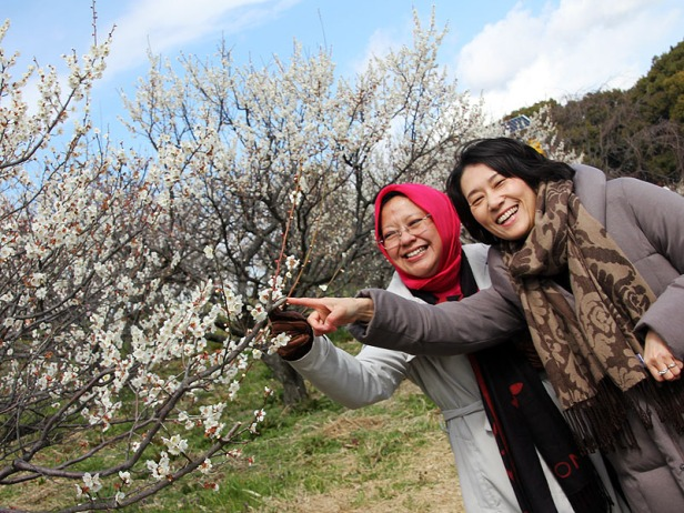 My wife and Japaneses friend point to the Blooming Plum Blossom