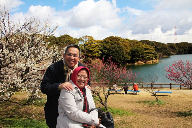 Me and my wife in Ushinuki Souri. At the background are Plum Blossom is starting blooming.